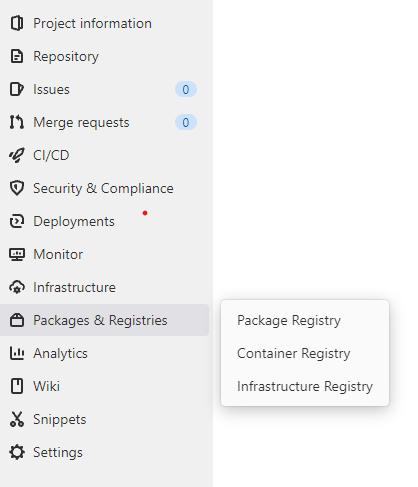 menu container registry